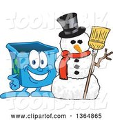 Vector Illustration of a Cartoon Blue Recycle Bin Mascot with a Christmas Snowman by Toons4Biz