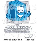 Vector Illustration of a Cartoon Blue Rolling Trash Can Bin Mascot Emerging from a Computer Screen by Toons4Biz