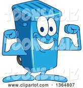 Vector Illustration of a Cartoon Blue Rolling Trash Can Bin Mascot Flexing by Toons4Biz