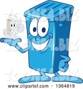 Vector Illustration of a Cartoon Blue Rolling Trash Can Bin Mascot Holding a Can by Toons4Biz