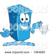 Vector Illustration of a Cartoon Blue Rolling Trash Can Bin Mascot Holding a Napkin by Toons4Biz