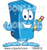 Vector Illustration of a Cartoon Blue Rolling Trash Can Bin Mascot Holding a Pencil by Toons4Biz
