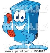 Vector Illustration of a Cartoon Blue Rolling Trash Can Bin Mascot Holding and Pointing to a Telephone by Toons4Biz