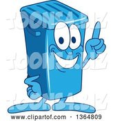 Vector Illustration of a Cartoon Blue Rolling Trash Can Bin Mascot Holding up a Finger by Toons4Biz