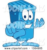 Vector Illustration of a Cartoon Blue Rolling Trash Can Bin Mascot Presenting and Pointing Outwards by Toons4Biz