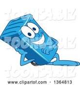 Vector Illustration of a Cartoon Blue Rolling Trash Can Bin Mascot Resting on His Side by Toons4Biz