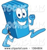 Vector Illustration of a Cartoon Blue Rolling Trash Can Bin Mascot Running by Toons4Biz