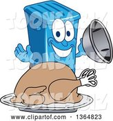 Vector Illustration of a Cartoon Blue Rolling Trash Can Bin Mascot Serving a Roasted Thanksgiving Turkey by Toons4Biz