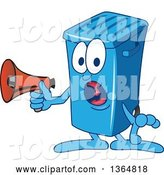 Vector Illustration of a Cartoon Blue Rolling Trash Can Bin Mascot Shouting into a Megaphone by Toons4Biz