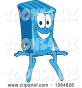 Vector Illustration of a Cartoon Blue Rolling Trash Can Bin Mascot Sitting by Toons4Biz