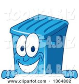 Vector Illustration of a Cartoon Blue Rolling Trash Can Bin Mascot Smiling over a Sign by Toons4Biz
