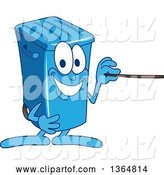Vector Illustration of a Cartoon Blue Rolling Trash Can Bin Mascot Using a Pointer Stick by Toons4Biz
