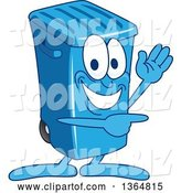 Vector Illustration of a Cartoon Blue Rolling Trash Can Bin Mascot Waving and Pointing by Toons4Biz