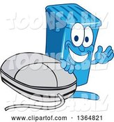 Vector Illustration of a Cartoon Blue Rolling Trash Can Bin Mascot Waving by a Computer Mouse by Toons4Biz