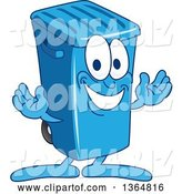 Vector Illustration of a Cartoon Blue Rolling Trash Can Bin Mascot Welcoming by Toons4Biz