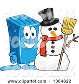 Vector Illustration of a Cartoon Blue Rolling Trash Can Bin Mascot with a Christmas Snowman by Toons4Biz
