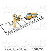 Vector Illustration of a Cartoon Bobcat Mascot and Bus over Week Days, Symbolizing Being Proactive by Toons4Biz