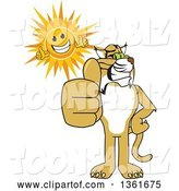 Vector Illustration of a Cartoon Bobcat Mascot and Sun Holding Thumbs Up, Symbolizing Excellence by Toons4Biz