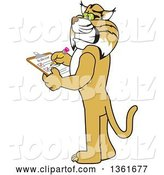 Vector Illustration of a Cartoon Bobcat Mascot Completing a to Do List, Symbolizing Dependability by Toons4Biz