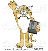 Vector Illustration of a Cartoon Bobcat Mascot Confessing to Breaking a Tablet, Symbolizing Integrity by Toons4Biz