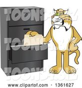 Vector Illustration of a Cartoon Bobcat Mascot Filing Folders, Symbolizing Organization by Toons4Biz