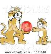 Vector Illustration of a Cartoon Bobcat Mascot Giving a Ball to a Cub, Symbolizing Compassion by Toons4Biz