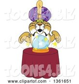 Vector Illustration of a Cartoon Bobcat Mascot Gypsy Looking into a Crystal Ball, Symbolizing Being Proactive by Toons4Biz