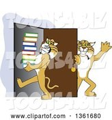 Vector Illustration of a Cartoon Bobcat Mascot Holding a Door for Another Carrying Books, Symbolizing Compassion by Toons4Biz