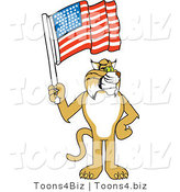Vector Illustration of a Cartoon Bobcat Mascot Holding a Flag by Toons4Biz