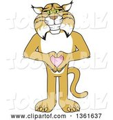 Vector Illustration of a Cartoon Bobcat Mascot Holding a Heart, Symbolizing Compassion by Toons4Biz