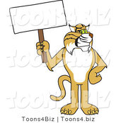 Vector Illustration of a Cartoon Bobcat Mascot Holding a Sign by Toons4Biz