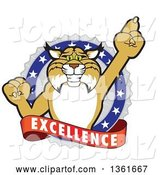Vector Illustration of a Cartoon Bobcat Mascot Holding up a Finger in an Excellence Badge by Toons4Biz