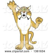 Vector Illustration of a Cartoon Bobcat Mascot Holding up a Hand, Symbolizing Responsibility by Toons4Biz