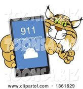 Vector Illustration of a Cartoon Bobcat Mascot Holding up a Smart Phone with an Emergency Screen, Symbolizing Safety by Toons4Biz