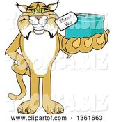 Vector Illustration of a Cartoon Bobcat Mascot Holding up a Thank You Gift, Symbolizing Gratitude by Toons4Biz