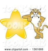 Vector Illustration of a Cartoon Bobcat Mascot Leaning Against a Gold Star, Symbolizing Excellence by Toons4Biz