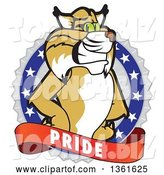 Vector Illustration of a Cartoon Bobcat Mascot on a Pride Badge by Toons4Biz