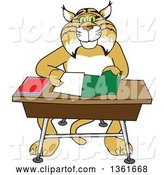 Vector Illustration of a Cartoon Bobcat Mascot Organizing and Doing Homework by Toons4Biz