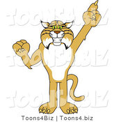 Vector Illustration of a Cartoon Bobcat Mascot Pointing up by Toons4Biz