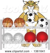 Vector Illustration of a Cartoon Bobcat Mascot Putting a Soccer Ball Back on a Rack, Symbolizing Respect by Toons4Biz