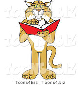 Vector Illustration of a Cartoon Bobcat Mascot Reading by Toons4Biz