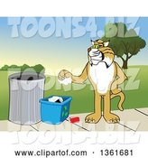 Vector Illustration of a Cartoon Bobcat Mascot Recycling, Symbolizing Integrity, Against a Park Landscape by Toons4Biz