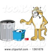 Vector Illustration of a Cartoon Bobcat Mascot Recycling, Symbolizing Integrity by Toons4Biz