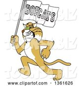 Vector Illustration of a Cartoon Bobcat Mascot Running with a Team Flag, Symbolizing Pride by Toons4Biz