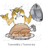 Vector Illustration of a Cartoon Bobcat Mascot Serving a Turkey by Toons4Biz