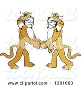 Vector Illustration of a Cartoon Bobcat Mascot Shaking Hands with a Friend, Symbolizing Gratitude by Toons4Biz