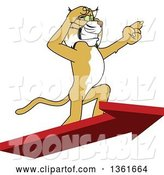 Vector Illustration of a Cartoon Bobcat Mascot Standing on an Arrow and Pointing, Symbolizing Leadership by Toons4Biz