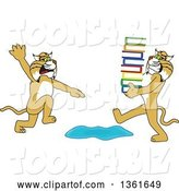 Vector Illustration of a Cartoon Bobcat Mascot Warning Another That Is Carrying a Stack of Books About a Puddle, Symbolizing Being Proactive by Toons4Biz