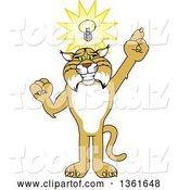 Vector Illustration of a Cartoon Bobcat Mascot with an Idea, Symbolizing Being Resourceful by Toons4Biz