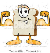 Vector Illustration of a Cartoon Bread Mascot Flexing His Strong Bicep Arm Muscles by Toons4Biz